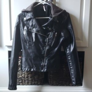 Free People Faux Leather Hooded Jacket